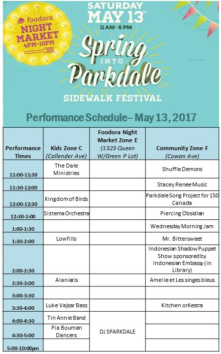 Spring into parkdale parkdale village bia music to our ears enjoy a mix of musical genres from francophone jazz by amelie et les singes bleus band greek folk by alaniaris to world folk music by stopboris Images